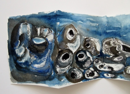 Hag Stones in ink and watercolour paint